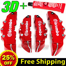 4 PCS 3D Brembo Look Brake Caliper Covers with GLUE Front 230mm Rear 185mm RED