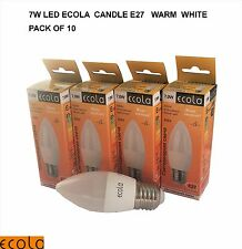PACK OF 10 X 7W  LED E27 ES ECOLA Candle Light Lamp Bulp Chandelier  WARM WHITE