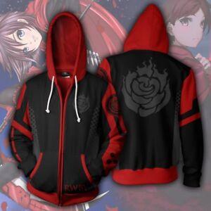 Hot Anime RWBY Ruby Rose Zipper Jacket Hooded Sweatshirt Coat Tops Cosplay S-5XL