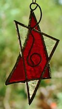 'RUBY RED SILVER STAR' Leadlight Hand Made CHRISTMAS TREE, TABLE DECORATION GIFT