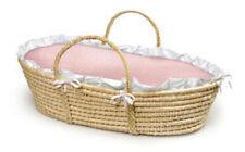 Badger Basket Natural Moses Basket with Pink Gingham Bedding 00889  New