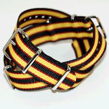 Black / Yellow / Red Nato / Nylon Watch Strap : 20mm or 22mm (FL44)