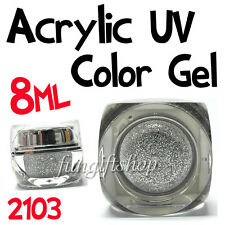 Nail Art Silver 8ml 0.25oz UV Builder Color Dust Glitter Gel Acrylic Polish 2103
