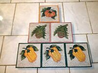 Lot of Six Pier1 Hand Painted Mosaic VEGETABLE TILES Made in Italy 6 inch