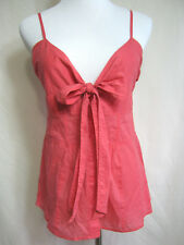 Womens Pink Cami JUNIORS M Camisole Top Bow Tie Front V-neck Blouse 100% COTTON