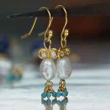 Turkish Sterling Silver Pearl Earrings W/ Turquoise Charms Handmade By Omer