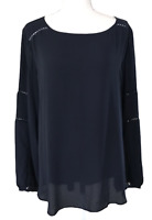 NWT ANN TAYLOR LOFT Navy Polyester Long Sleeve Blouse Top Women's Size L