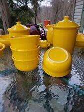 set 4 GUSTO BOWLS daffodil yellow HOMER LAUGHLIN FIESTA WARE 23 OZ. NEW