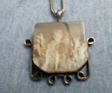 GEORGEOUS  MOSS AGATE VINTAGE STERLING SILVER PENDANT TORCH MAKERS MARK