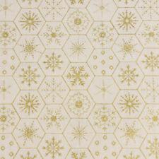Baumwollstoff GOTS Bio Popeline Weihnachten Sechseck Schneeflocke creme gold 1,5