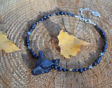 Blue Goldstone wolf necklace sandstone glitter dark mori strega elf gothic witch
