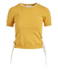 Crop Top Jumper Size 6 Ladies Womens Mustard Yellow with Tie Accent BNWT #633