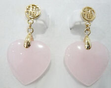 New Fashion Pink Jade Love Heart 18KGP Gold Plated Fortune Stud Dangle Earrings