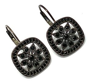 .925 Sterling Silver, 1.00ct Black Spinel Leverback Earrings