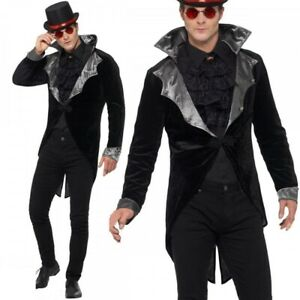 Mens Gothic Vampire Jacket Costume Halloween Count Dracula Adults Fancy Dress