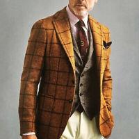 Vintage Wool Suits Brown Check Notch Neck  Men's Leisure Blazer Regular Fit make