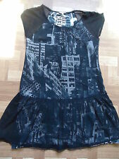 robe rock pop dark goth voile résille volants jacqueline riu taille 38/40