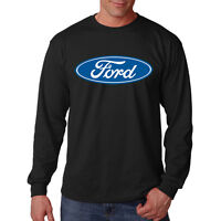 Ford American Classic Blue & White Logo Hot Rat Rod Long Sleeve T-Shirt Tee