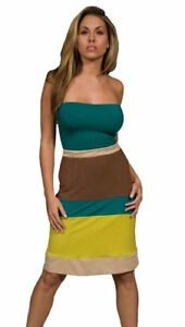Sweetees Lou Colorblock Stripe Strapless Midi Tube Dress Green Lime Brown Gold