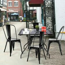 Set 4 Tolix Style Dining Side Chair Stackable Bistro Cafe Metal Stool Vintage