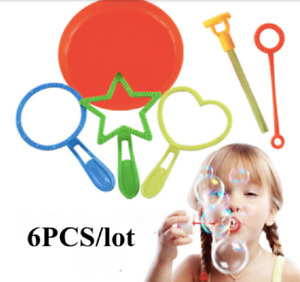 Kids Blowing Bubbles Wand Set Outdoor Toys Small Bubble Sticks Straw Hoops 6pcs