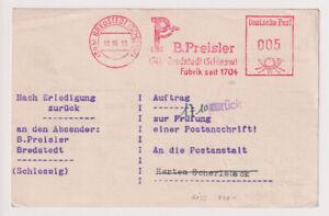 Anschriftenprüfung, 0,05 DM/AFS B. Preisler, Bredstedt,10.10.50 (Götz 800,00)