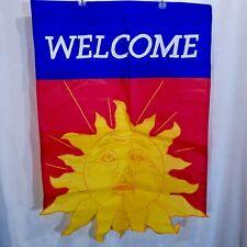 Welcome Sun Cutout Flag 27.5 x 39 Long Summer Sunshine