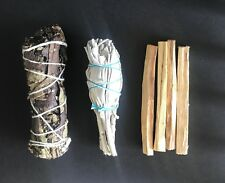 California White Sage,Palo Santo 4 sticks ,Yerba Santa Smudge 3 Pack Bundl