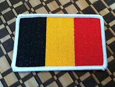 BELGIUM Flag Tactical Patch With VELCRO® Brand Fastener White Border #2