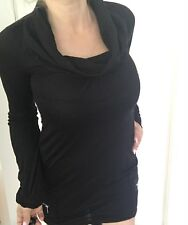 GRIP JEANS TOP DRESS PURE WOOL KNIT BLACK MADE IN AU SZ S