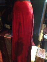 1970's Original Vintage Size L Long Red/ Burgundy Tie Dyed Velvet Designer Skirt
