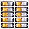 10x White Amber 20-LED Car Truck Emergency Warning Hazard Strobe Light Bar 12V