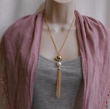 Bohemian Boho Pearl Gold Tone Tassel Pendant Summer Necklace 20 Inch