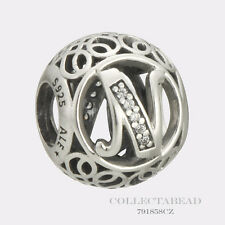 Authentic Pandora Sterling Silver Vintage N Clear CZ Bead 791858CZ