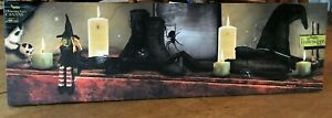 LED Lighted Candles HAPPY HALLOWEEN w/ Spider Witch Hat Boots Canvas Wall Art