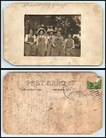 RPPC PHOTO Postcard - Group Of Young Adults Wearing Overalls & Hats B3