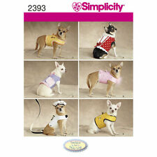 Simplicity SEWING PATTERN 2393 Dog Jackets,Beret & Lead/Leash For Tiny Dogs