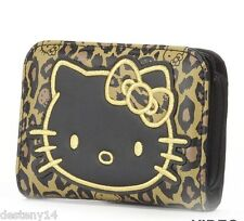 Hello Kitty Face Leopard/Black/Gold Women's/Girls  Wallet NWT