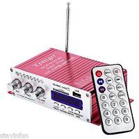 2CH Hi-Fi Car Stereo Power Amplifier USB FM SD Audio Music Player Remote Control