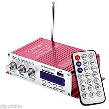 2CH Hi-Fi Car Stereo Power Amplifier USB FM SD Audio Music Player Remote Control