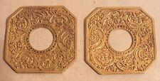 bougeoir chandelier bobeche octogonale bronze fleurs paire (n°4)