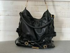 BURBERRY Hobo Bag Handbag Bridle Gosford Medium Leather Black Authentic