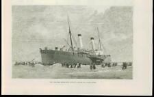 1888 - FRANCE CALAIS CHANNEL STEAMBOAT INVICTA STUCK SAND (117B)