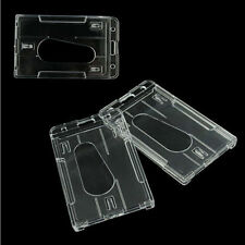 HOT Popular Hard Plastic Cute Badge Holder Double Cards ID Transparent 10x6cm