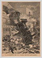 1895 : ILLUSTRATION / GRAVURE: ACCIDENT de TRAIN GARE MONTPARNASSE PARIS