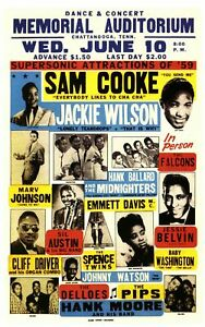 """Sam Cooke 13"""" X 19"""" Reproduction Concert Poster archival quality"""