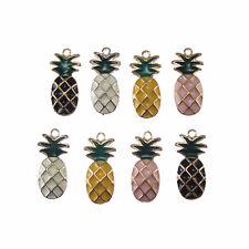 Pack of 8 Multi-colored Enamel Metal Pineapple Look Charms Pendants 25x11 MM