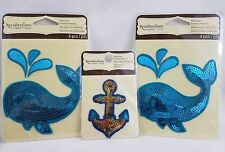 Sequin Whales Boat Anchor Embroidered Adhesive Embellishments Blue Gold Nautical