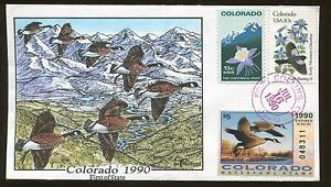 1990 Fort Collins Colorado Canadian Geese V Form Hand Painted Cover FDC Stamp #1