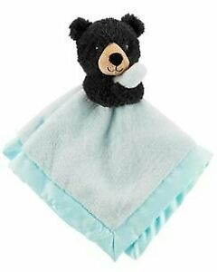 NWT Carters Black Bear Blue Matte Satin Security Blanket Plush Baby Toy Lovey